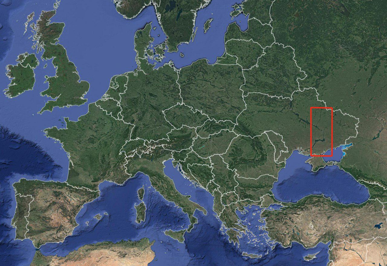 Location of the study area (red rectangle) in the European context